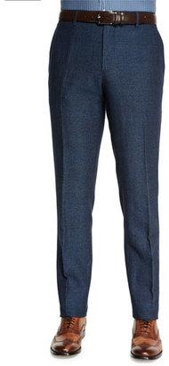 Etro Herringbone Flat-Front Pants, Blue $695 thestylecure.com