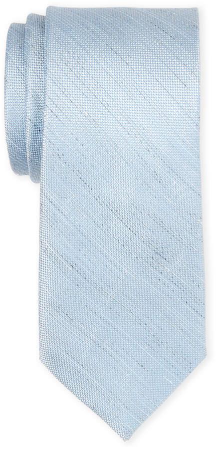 Calvin Klein Ice Blue Rustic Solid Silk & Linen Tie
