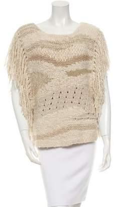 Isabel Marant Fringe-Trimmed Knit Poncho tan Fringe-Trimmed Knit Poncho