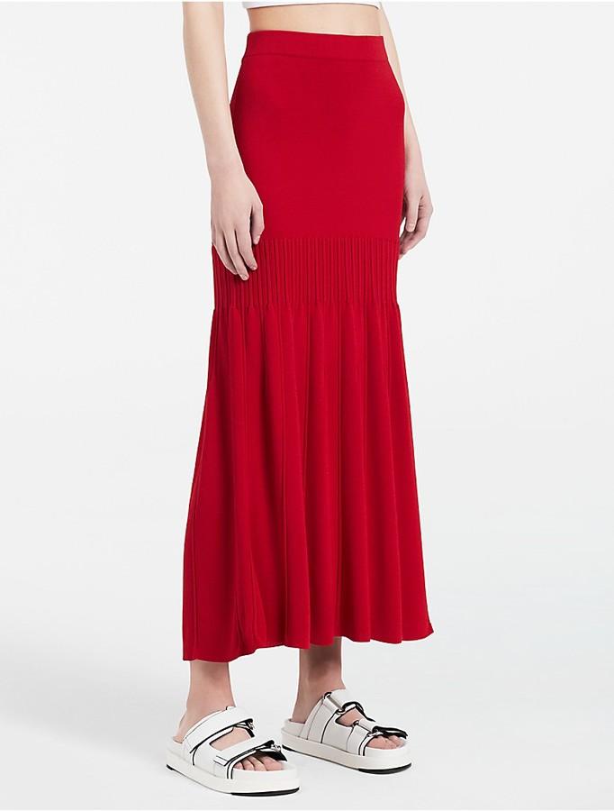 Calvin KleinPlatinum Rayon Blend Maxi Skirt