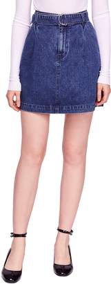 Free People Jade Belted Denim Miniskirt