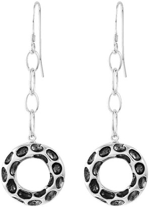 Sterling Silver Oxidized Circle Dangle Earrings