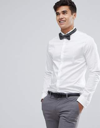 Asos Design Wedding Skinny Sateen Shirt In White With Wing Collar And Double Cuff