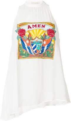 Amen embroidered logo patch halter top