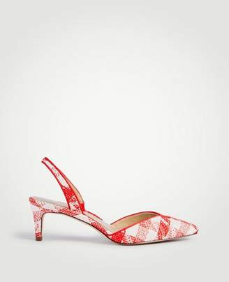 Ann Taylor Elora Piped Gingham Slingback Pumps