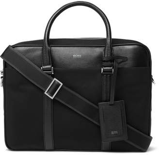 HUGO BOSS Meridian Cross-grain Leather Trimmed Canvas Briefcase