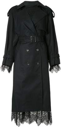 Le Ciel Bleu lace trim trench coat