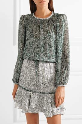 Veronica Beard Dorado Ruffled Floral-print Silk-chiffon Mini Dress - Green