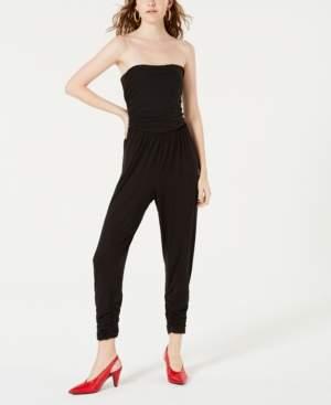 Ultra Flirt Juniors' Strapless Leopard-Print Jumpsuit