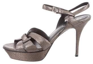 Saint Laurent Tribute Metallic Sandals