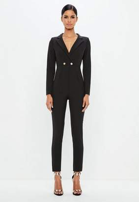 Missguided Long Sleeve Double Button Romper