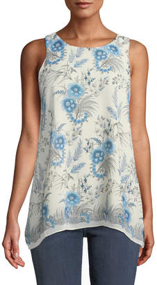 Max Studio Floral-Print Georgette Trapeze Blouse