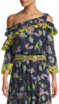 Tanya Taylor Violet Garden-Print Off-the-Shoulder Silk Top