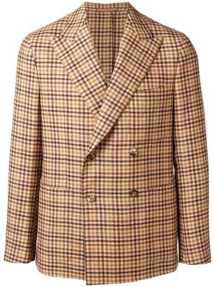 Caruso double breasted gingham jacket