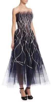 Oscar de la Renta Fisherman's Tulle Net Fit-&-Flare Dress