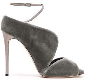 Casadei Faux Leather-trimmed Velvet Sandals