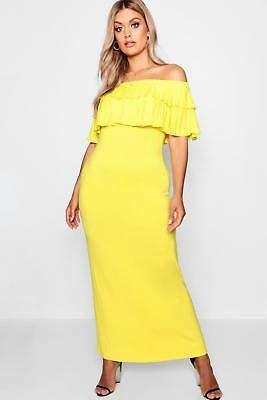 boohoo NEW Womens Plus Off Shoulder Ruffle Maxi Dress in Viscose 5% Elastane