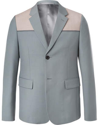 Prada Sage-Green Panelled Wool And Mohair-Blend Blazer