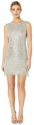 Adrianna Papell Sleeveless Fringe Beaded Cocktail Dress