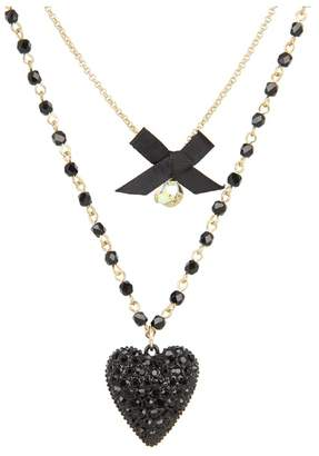 Betsey Johnson Iconic Glitter Heart Two-Row Necklace Necklace