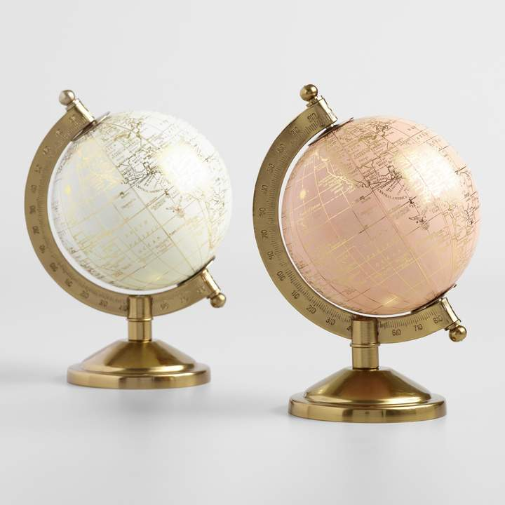 Cost Plus World Market Mini Ivory and Blush Globes on Stands Set of 2
