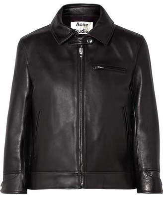 Acne Studios Cropped Leather Biker Jacket - Black