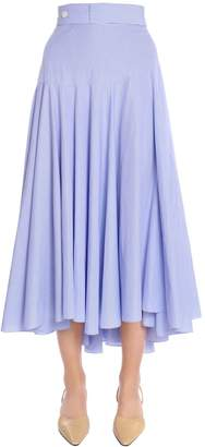 Loewe High Waisted Striped Cotton Midi Skirt