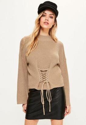 Missguided Camel Extreme Sleeve Corset Funnel Neck Sweater
