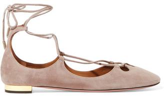 Aquazzura - Dancer Lace-up Suede Ballet Flats - Beige $725 thestylecure.com