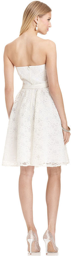 Marina Strapless Belted Lace Dress