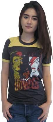 Glam Rock BUNNY BRAND Women's Ziggy Stardust David Bowie Ringer T-Shirt