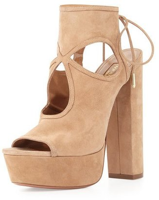 Aquazzura Sexy Thing Platform Sandal, Biscotti $715 thestylecure.com