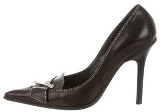 Casadei Leather Pointed-Toe Pumps $145 thestylecure.com
