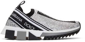 Dolce & Gabbana Silver Crystal Sorrento Slip-On Sneakers