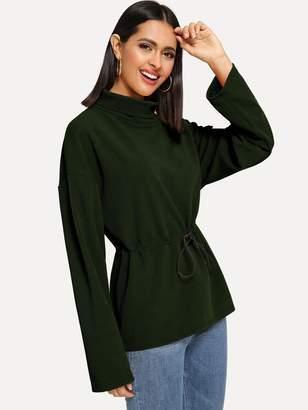 Shein Drop Shoulder Drawstring Waist Pullover