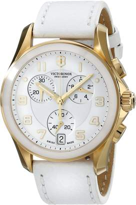 Victorinox Women's 2511 Gold-Tone Accented White Watch with Leather Band