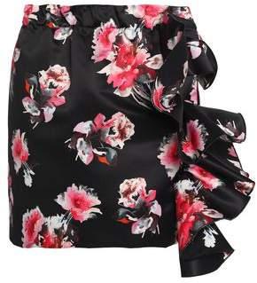 MSGM Ruffled Floral-Print Satin Mini Skirt
