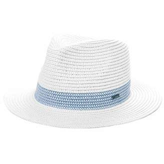 Jeff & Aimy Ladies Straw Fedora Panama Sun Hat for Women Mens Wide Brim UV Summer Beach Travel Safari Sunhat Packable Adjustable Medium 56CM White