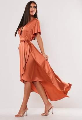 Missguided Rust Satin Wrap Front Ruffle Midi Dress