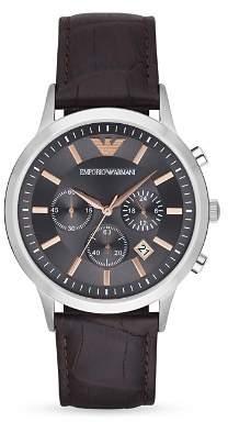 Emporio Armani Quartz Chronograph Black IP Stainless Steel Watch, 46 mm