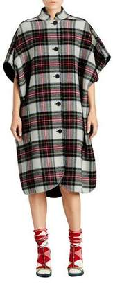 Burberry Check Button-Front Poncho, White/Green
