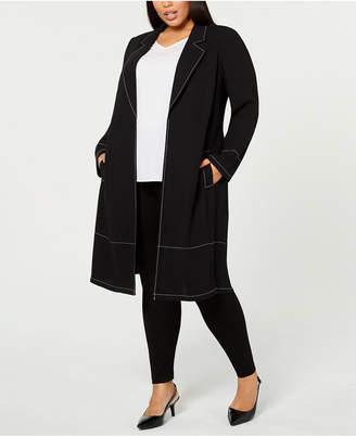 Alfani Plus Size Contrast-Stitch Jacket, Created for Macy's