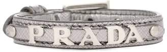 Prada Metallic leather logo bracelet