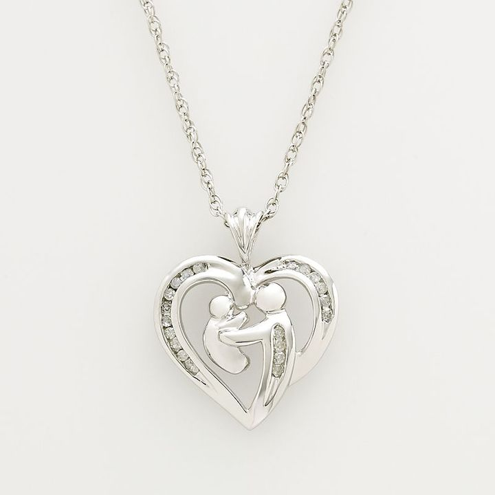 Love Hearts 10k White Gold 1/10-Ct. T.w. Diamond Motherly Love Heart Pendant