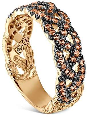 John Hardy 18K Yellow Gold Braided Chain Ring with Orange Sapphire
