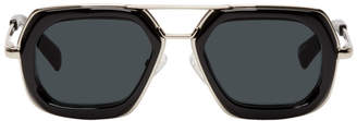 Dries Van Noten Black and Silver Linda Farrow Edition 173 C1 Sunglasses
