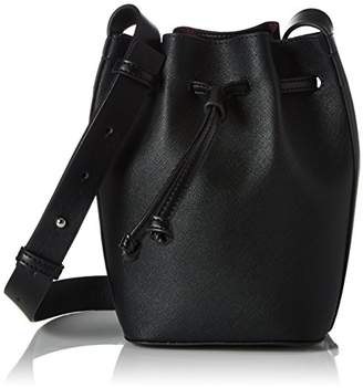 French Connection Saffiano Chelsea Mini Bucket, Women's Shoulder Bag, Mehrfarbig (Black/shiny Silver), 11x14x21 cm (B x H T)