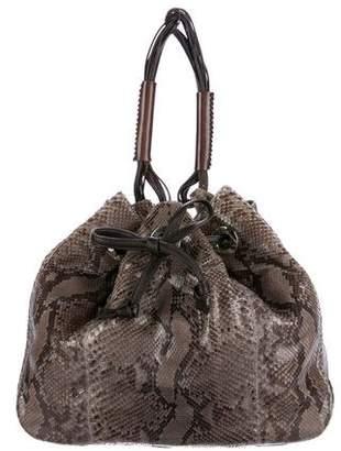 LAI Handbags Python Drawstring Bucket Bag