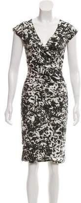 Nicole Miller Printed V-Neck Knee Length Dress