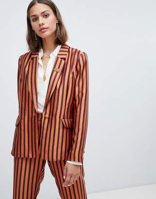 Maison Scotch shiny striped suit blazer